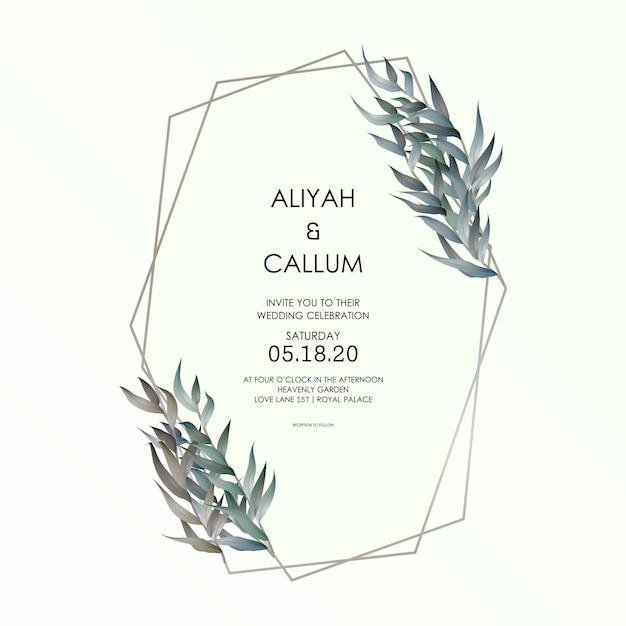 結婚式招待状のロマンチックな柔らかいエレガントな花柄 Premiumベクター