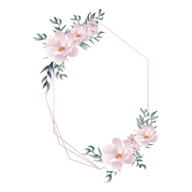 Элегантная красивая цветочная геометрическая рамка Premium векторы