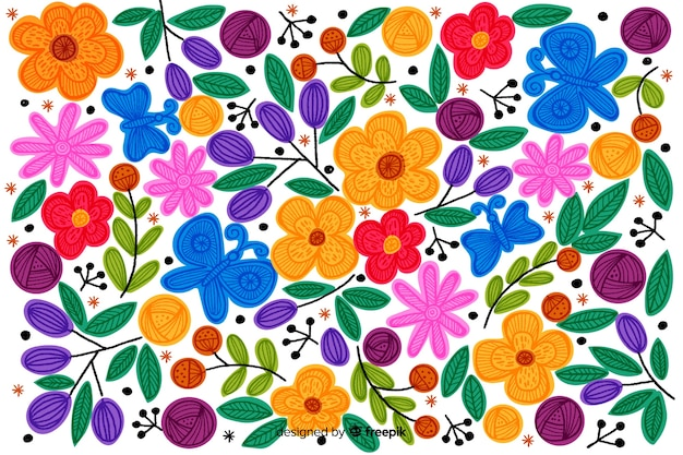 Красочный мексиканский фон вышивки Бесплатные векторы