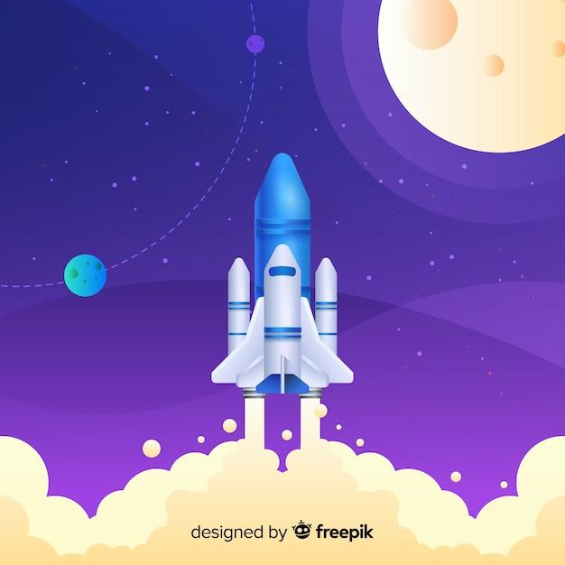 グラデーションロケットが空を飛んでいます。 無料ベクター