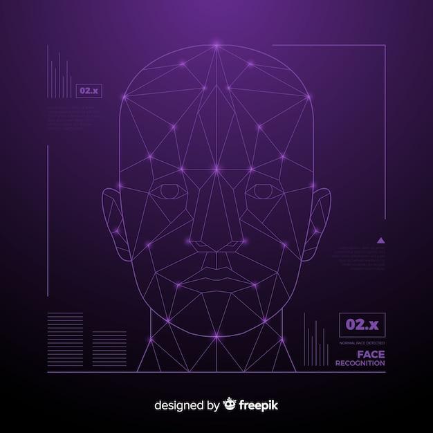 Абстрактное распознавание лица футуристическая технология Бесплатные векторы