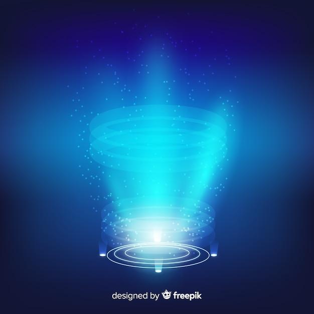 Реалистичная голубая голограмма портала фон Бесплатные векторы