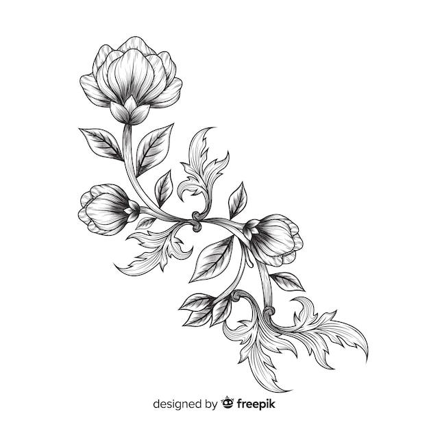 Рисованные цветы в стиле барокко Бесплатные векторы