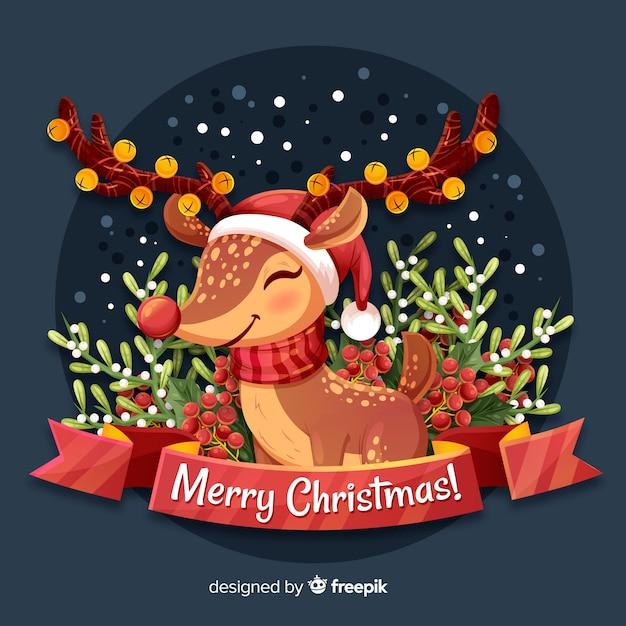 かわいいトナカイとクリスマスの背景 無料ベクター