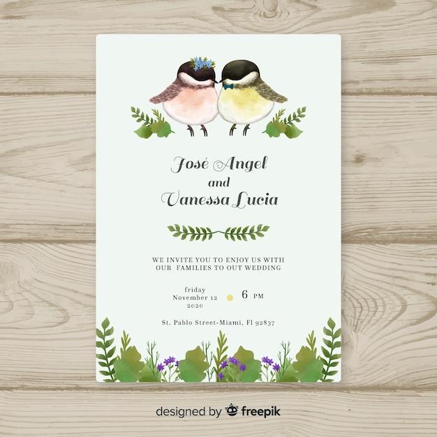 水彩鳥の結婚式の招待状のテンプレート 無料ベクター