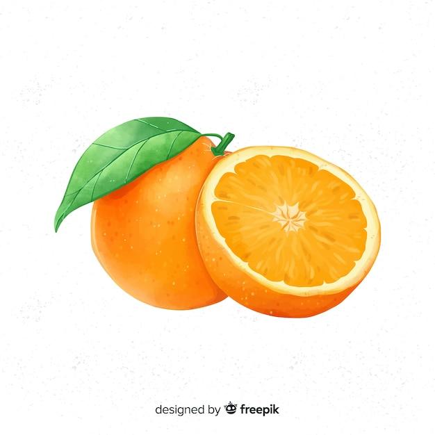 水彩画のオレンジ色の背景 無料ベクター