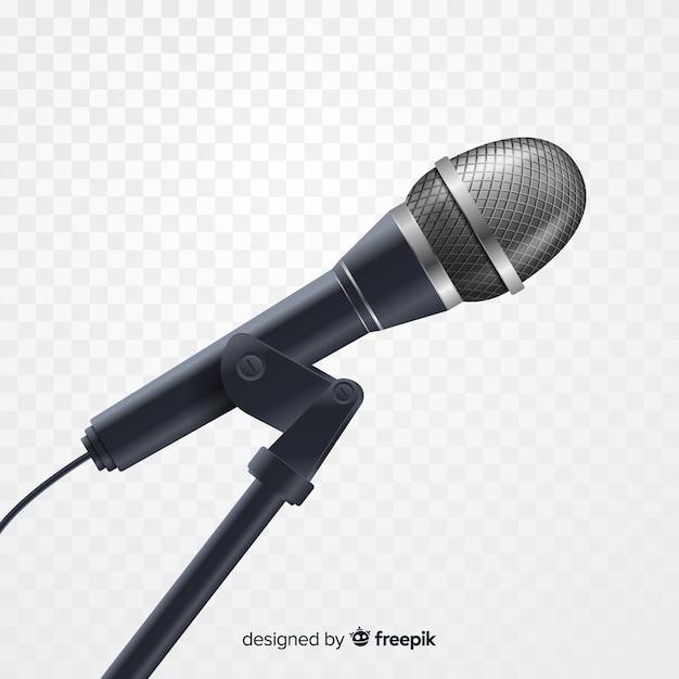 Реалистичный металлический микрофон для пения Бесплатные векторы