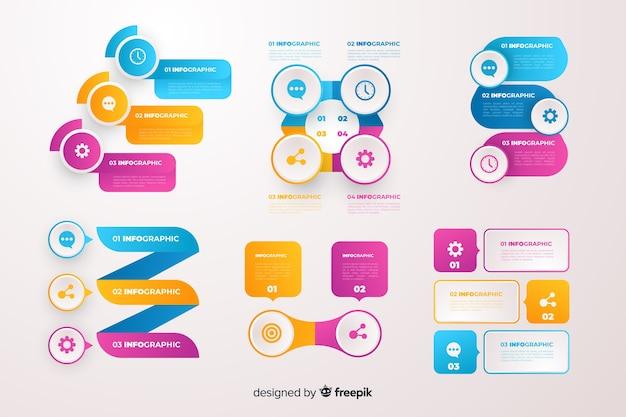 グラデーションビジネスインフォグラフィック要素セット 無料ベクター