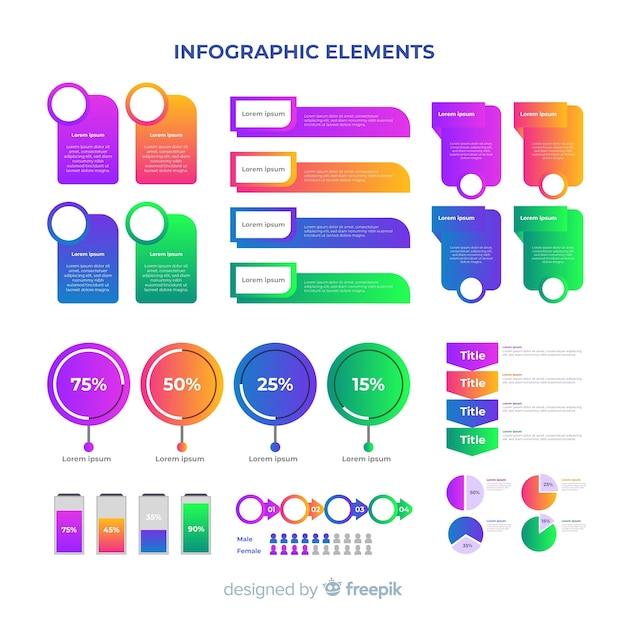 グラデーションビジネスインフォグラフィック要素パック 無料ベクター