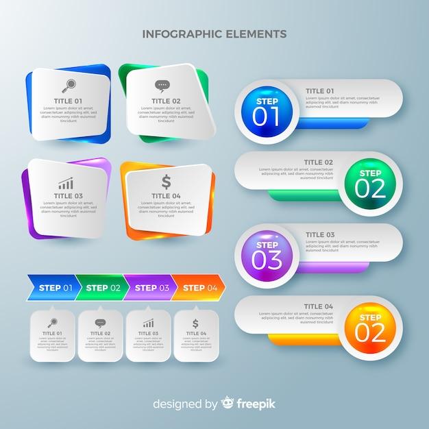 Коллекция элементов инфографики Бесплатные векторы