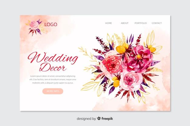 Свадебная целевая страница Бесплатные векторы