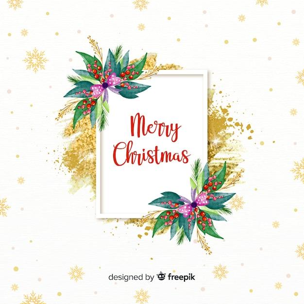 水彩の装飾クリスマスフレーム 無料ベクター