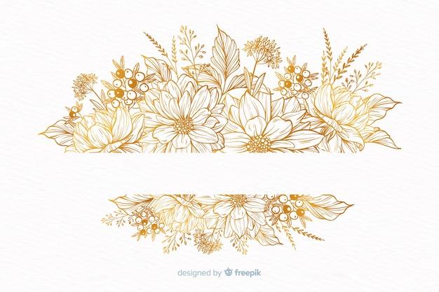 手描きの装飾的な花の花輪 無料ベクター