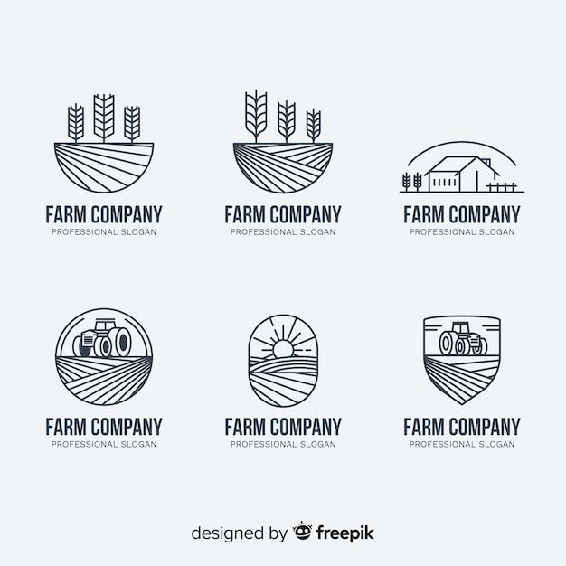Плоская коллекция логотипа фермы Бесплатные векторы