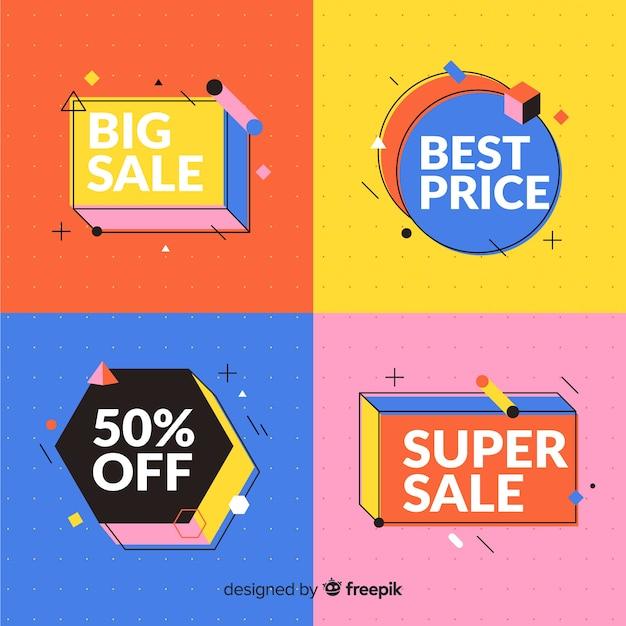 Красочный набор для продажи баннеров в мемфисе Бесплатные векторы