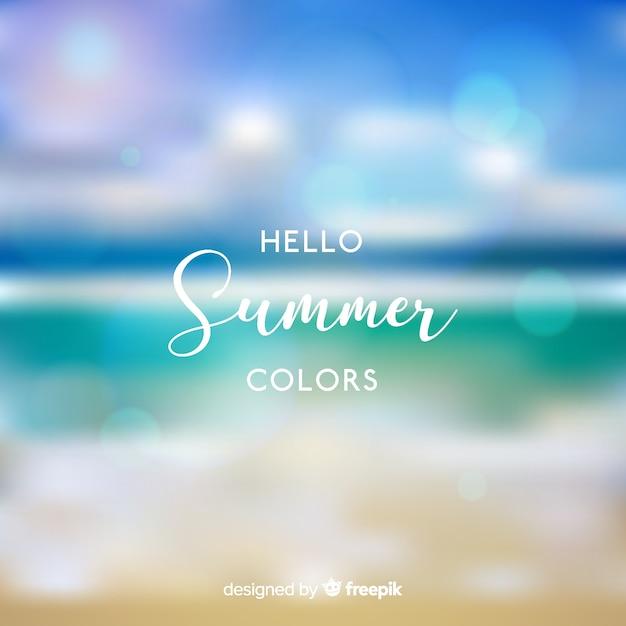 Реалистичный размытый привет лето фон Бесплатные векторы