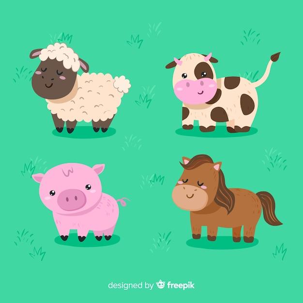 手描きの農場の動物コレクション 無料ベクター