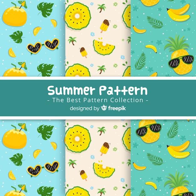 手描き夏パターンコレクション 無料ベクター