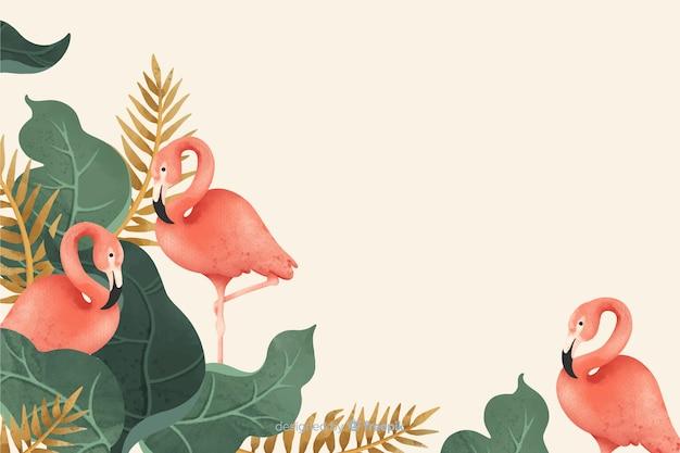 熱帯の葉とフラミンゴの背景 無料ベクター