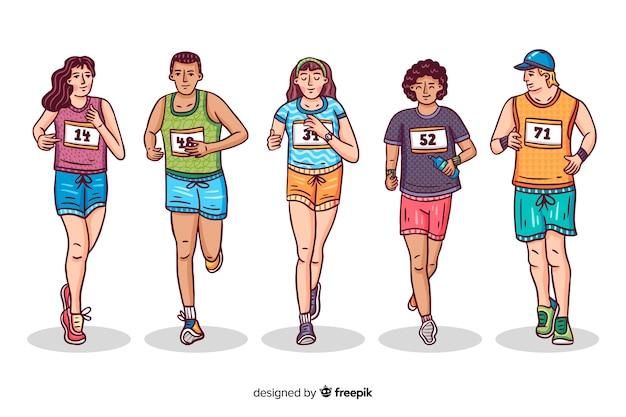 マラソンレースの人々 無料ベクター