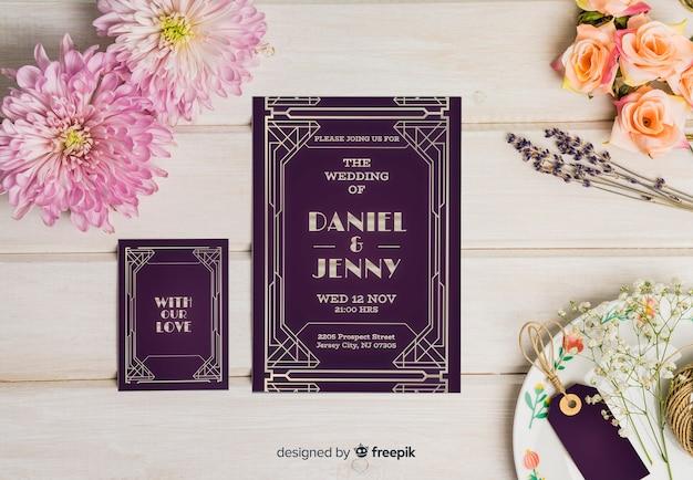 Элегантный свадебный макет Бесплатные векторы
