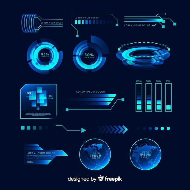 未来的なホログラフィックインフォグラフィック要素のコレクション 無料ベクター