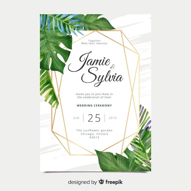 水彩の結婚式の招待状カードのテンプレート 無料ベクター