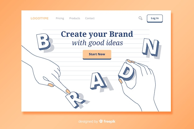 ランディングページのブランドコンセプト 無料ベクター
