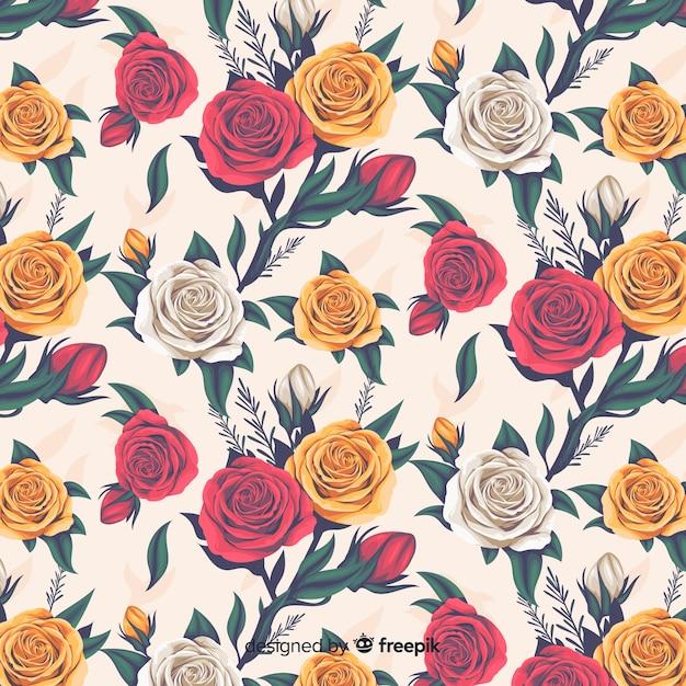 バラとリアルな花の装飾的なパターン 無料ベクター