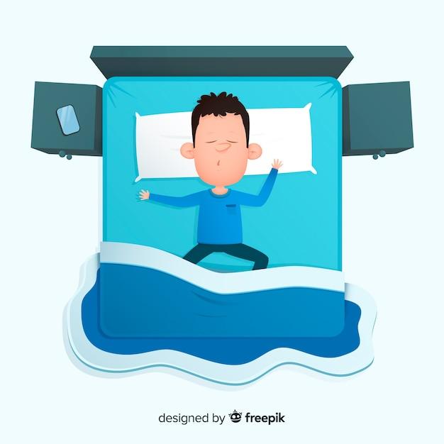 ベッドで寝ている平面図人 無料ベクター