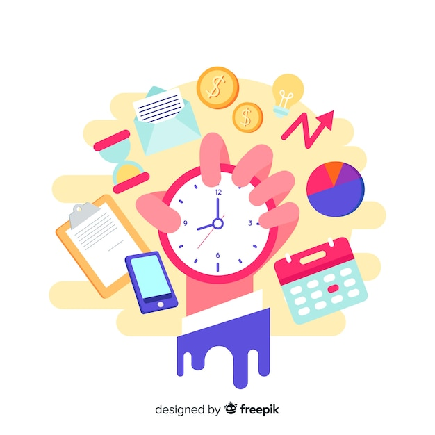 ランディングページの時間管理の概念 無料ベクター