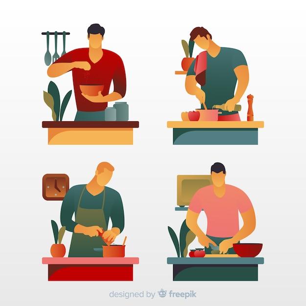 Люди на кухне коллекции Бесплатные векторы