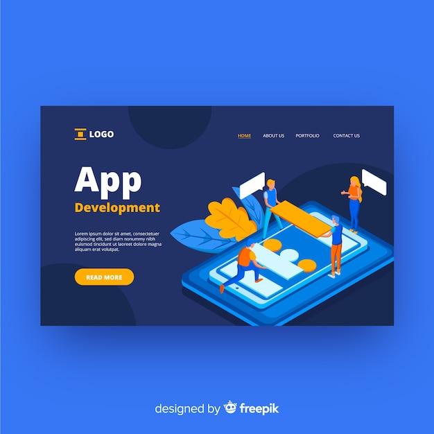 アプリ開発のランディングページ 無料ベクター