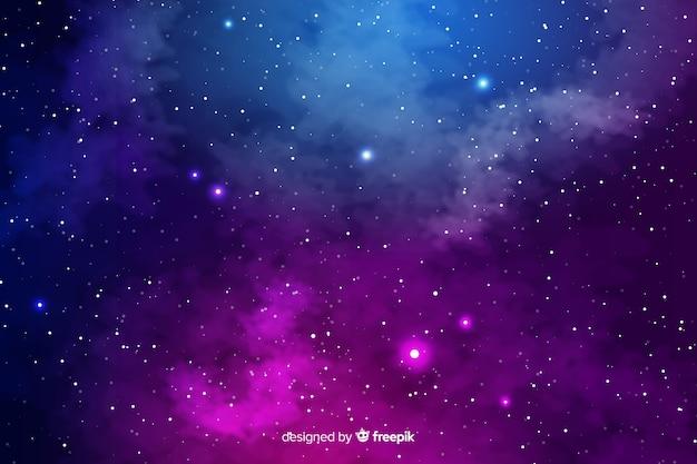リアルな銀河の背景 無料ベクター