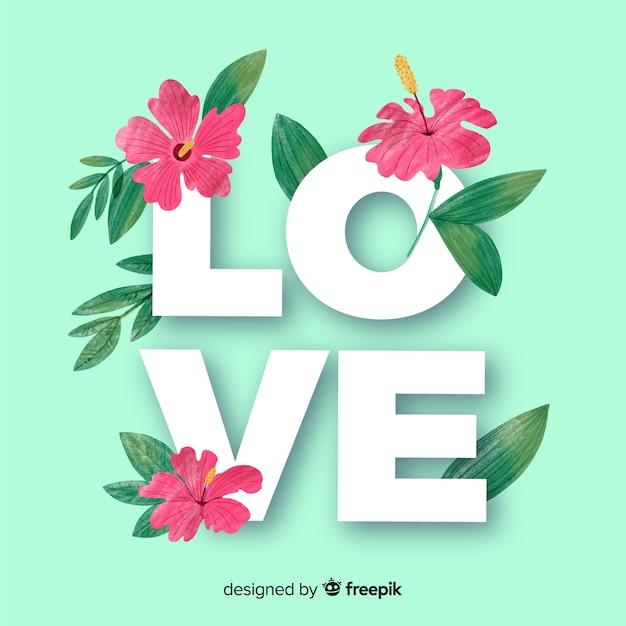 花と葉の愛の言葉 無料ベクター