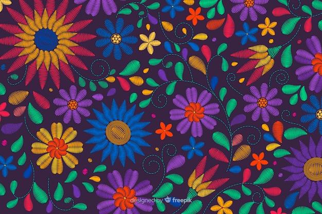 Традиционный мексиканский фон вышивки Бесплатные векторы
