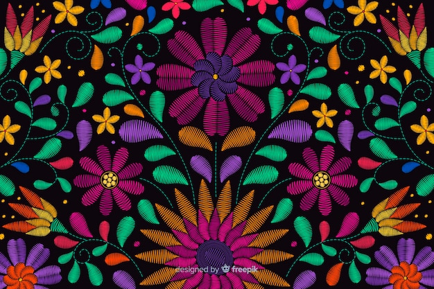 伝統的なメキシコ刺繍の背景 無料ベクター