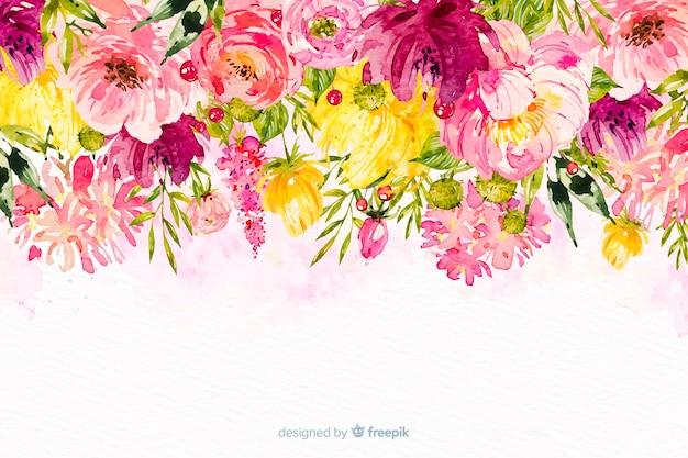 水彩の美しい花のカラフルな背景 無料ベクター