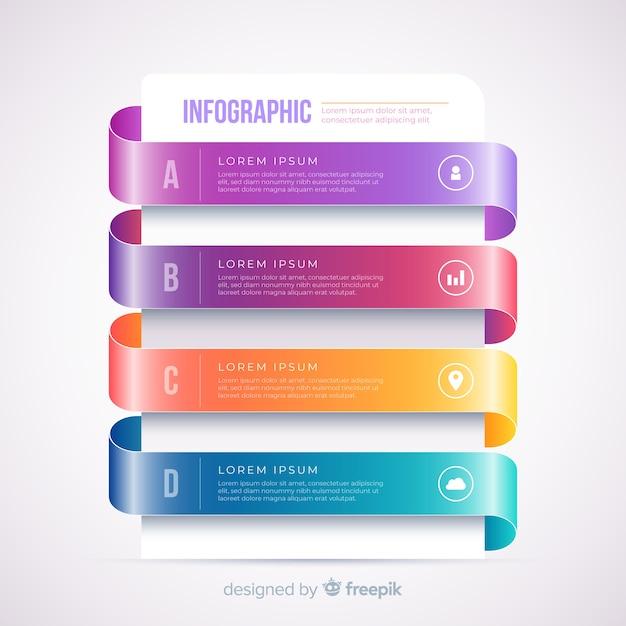 Градиент реалистичный красочный шаг инфографики Бесплатные векторы