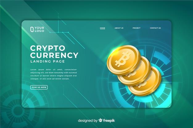 暗号通貨のランディングページ 無料ベクター
