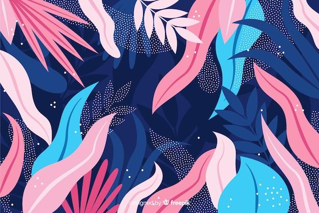 Рисованной экзотические листья фон Бесплатные векторы