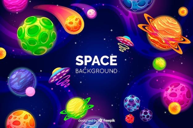 Ручной обращается красочный космический фон Бесплатные векторы