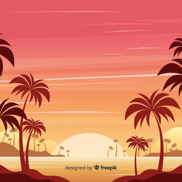 グラデーションビーチの夕日の風景 無料ベクター