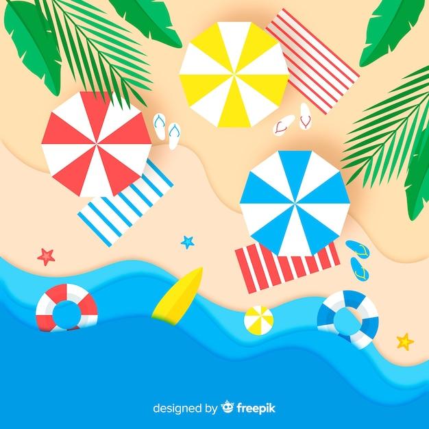 紙のスタイルでトップビューカラフルなビーチ 無料ベクター