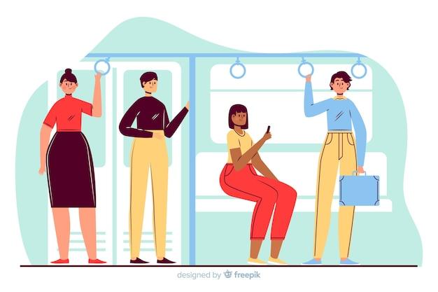 Люди едут в метро Бесплатные векторы