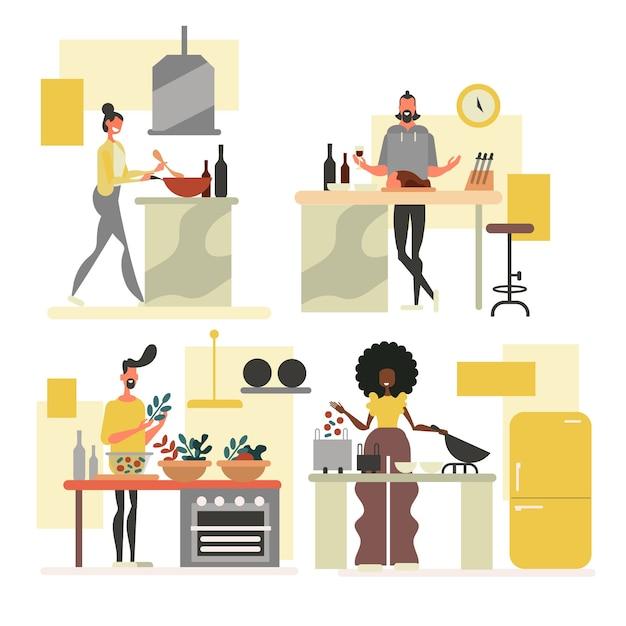 キッチンコレクションの人々 無料ベクター
