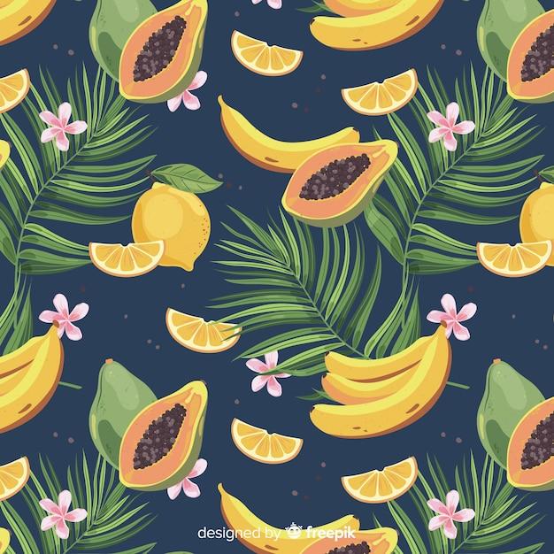 平らなトロピカルフルーツとヤシの木のパターン 無料ベクター