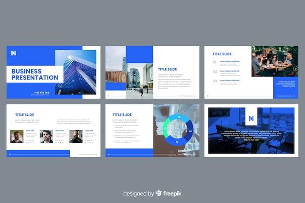 ビジネスプレゼンテーションスライド写真付き 無料ベクター