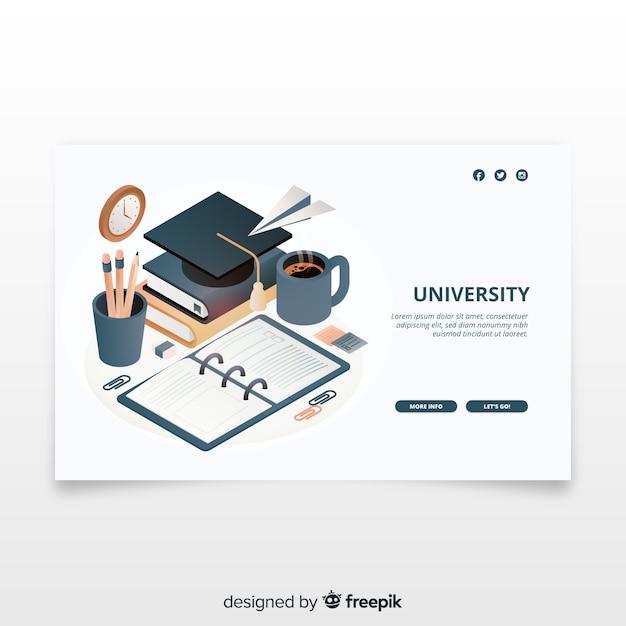等尺性大学のランディングページ 無料ベクター