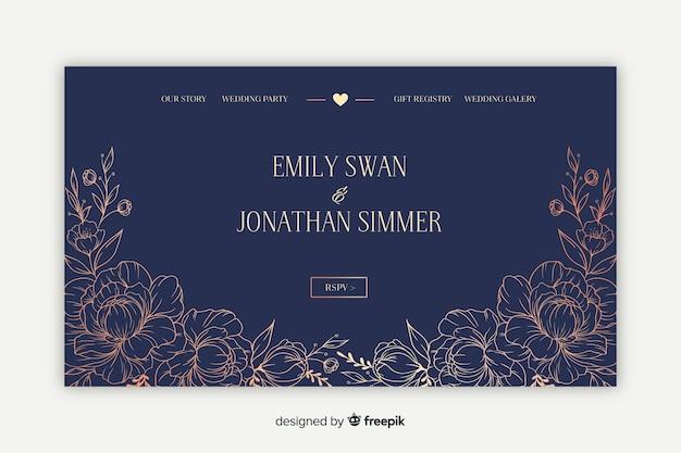 Элегантная свадебная целевая страница Бесплатные векторы